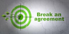 Law concept: target and Break An Agreement on wall background Stock Illustration