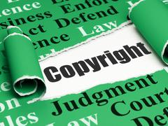 Law concept: black text Copyright under the piece of  torn paper - stock illustration