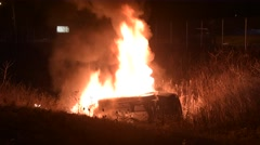 Rolled Over Vehicle On Fire Collision Stock Footage
