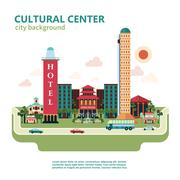 Cultural Center City Background Stock Illustration