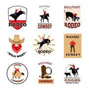 Emblems Set Of Rodeo Stock Illustration