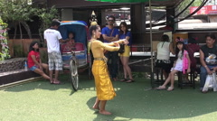 People Watch A Female Thai Dancer Stock Footage