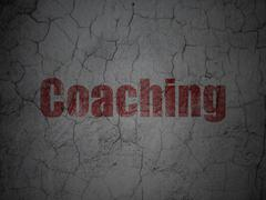 Education concept: Coaching on grunge wall background - stock illustration