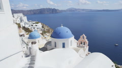 Santorini Oia Blue Dome church Caldera Travel  At Famous Travel Destination - stock footage