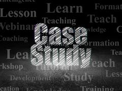 Education concept: Case Study in grunge dark room - stock illustration