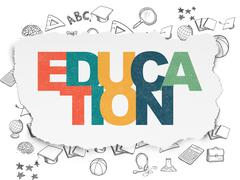 Studying concept: Education on Torn Paper background - stock illustration