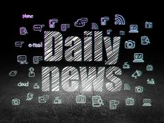 News concept: Daily News in grunge dark room Stock Illustration