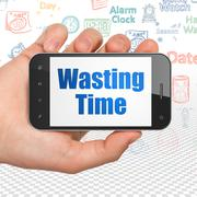 Time concept: Hand Holding Smartphone with Wasting Time on display - stock illustration
