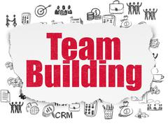 Finance concept: Team Building on Torn Paper background - stock illustration