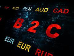 Business concept: B2c on Digital background - stock illustration