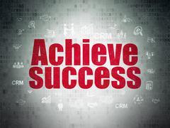 Business concept: Achieve Success on Digital Paper background Stock Illustration