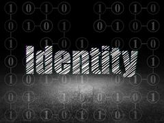 Protection concept: Identity in grunge dark room Stock Illustration