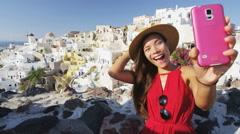 Excited Woman Selfie Selfportrait In Santorini Using Smart Phone Happy Stock Footage