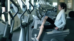 Teen Girl Working Out In Fitness Center Stock Footage