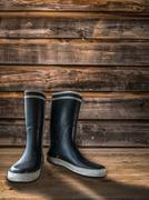 Farmhouse Rubber Boots Stock Photos