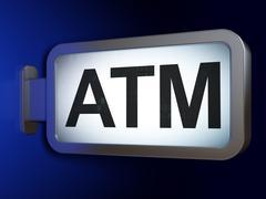 Money concept: ATM on billboard background - stock illustration