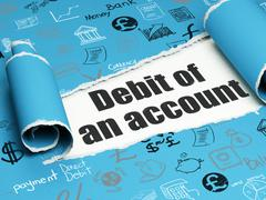 Banking concept: black text Debit of An account under the piece of  torn paper Stock Illustration