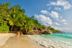 anse lazio beach praslin island seychelles - stock photo