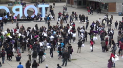 International Pillow Fight Day at Nathan Phillip's Square,  Toronto - stock footage