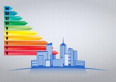 Illustration of urban skyline with Energy efficiency rating scale Stock Illustration