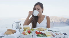 Breakfast Woman Having Coffee On Terrace Resort Outdoor In Beautiful Morning Stock Footage