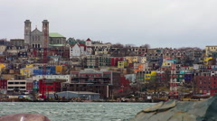 St. John's Cityline closeup with its harbour in the foreground. Stock Footage