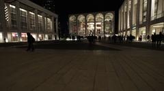 Lincoln Center, NYC night establishing shot. Stock Footage
