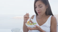 Woman Eating Healthy Fruit Salad Bowl Eating Healthy Food in Morning Stock Footage