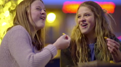 Teen Girls Hang Out At Night And Enjoy Eating Fast Food French Fries Stock Footage
