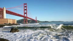 Slow motion, heavy surf along the breakwater at Fort Point.  Looking north along - stock footage