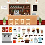 Coffee illustration set with shop interior background - stock illustration