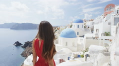 Santorini Oia Blue Dome Church Travel Tourist Girl At Famous Travel Destination Stock Footage