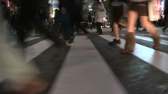 Pedestrian traffic in chaotic night metropolitan city lifestyle Stock Footage