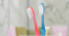 Childs and adults toothbrushes in the cup Stock Footage