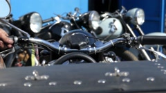 The Biker Starts the Motorcycle Engine. Stock Footage