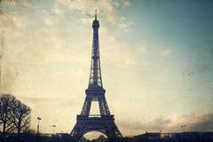 Vintage photo of the Eiffel Tower - stock photo