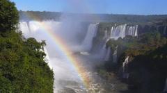 Rainbow at Iguazu Falls, on the Border of Argentina and Brazil Stock Footage