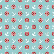 Tile sailor vector pattern with white anchor and red rudder on blue background Stock Illustration