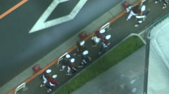 Above angle god eye view of children going to school. Stock Footage