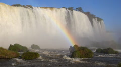 Rainbow at Iguazu Falls, on the Border of Argentina and Brazil - stock footage