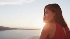 Woman Enjoying Famous Oia Sunset On Santorini - Greek Island Travel Tourist - stock footage