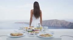 Breakfast Table and Luxury Travel Woman Santorini - perfect breakfast table Stock Footage