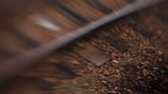 Passenger daydreaming view of train rails moving backwards or forward Stock Footage