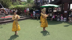 Three Beautiful Traditional Thai Dancers Stock Footage