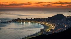 Sunset over Copacabana Beach in Rio de Janeiro Stock Footage