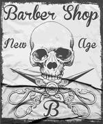 Barber shop skull print/skull illustration/evil skull/concert posters/skull c - stock illustration