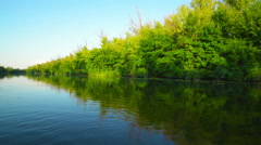 Evening on the river Stock Footage