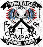 Stock Illustration of Boho motor company skull typography, t-shirt graphics, vectors