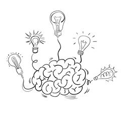 Brain and many idea light bulbs Stock Illustration
