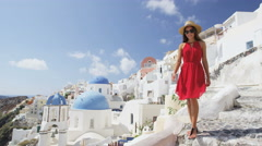 Tourist Woman On Travel In Oia Santorini Europe - Greece Vacation Cute Girl Stock Footage
